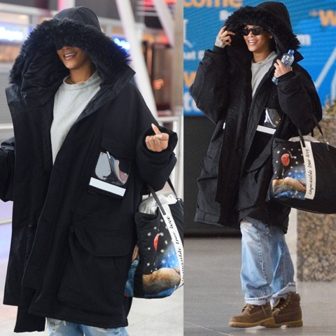 Rihanna wears Vetements Parka in New York