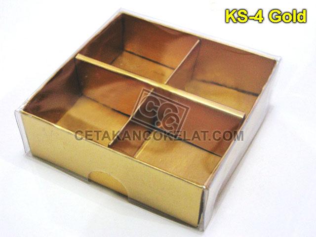 Casing Mika Coklat Kotak 4 KS-4 sekat cokelat kemasan