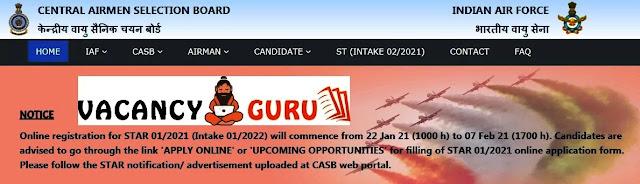 Indian Airmen X Y Group Recruitment 2021