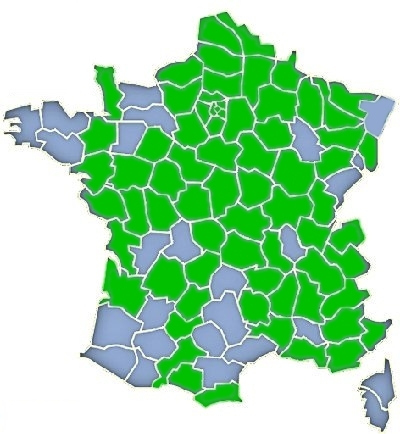 Départements où la présence de Calophasia lunula HUFNAGEL, 1766 est attestée (en vert). Source :  http://www.lepinet.fr/especes/nation/lep/index.php?e=p&id=42090