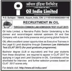 Oil India Limited CLAT 2017 www.indgovtjobs.in