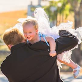 Groom & Daughter Moment by Sarah Sullivan - Wedding Other ( love, wedding, groom, flower girl, sarah sullivan photography )