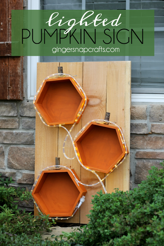 DIY Lighted Pumpkin Sign at GingerSnapCrafts.com #fall #crafts #pumpkins