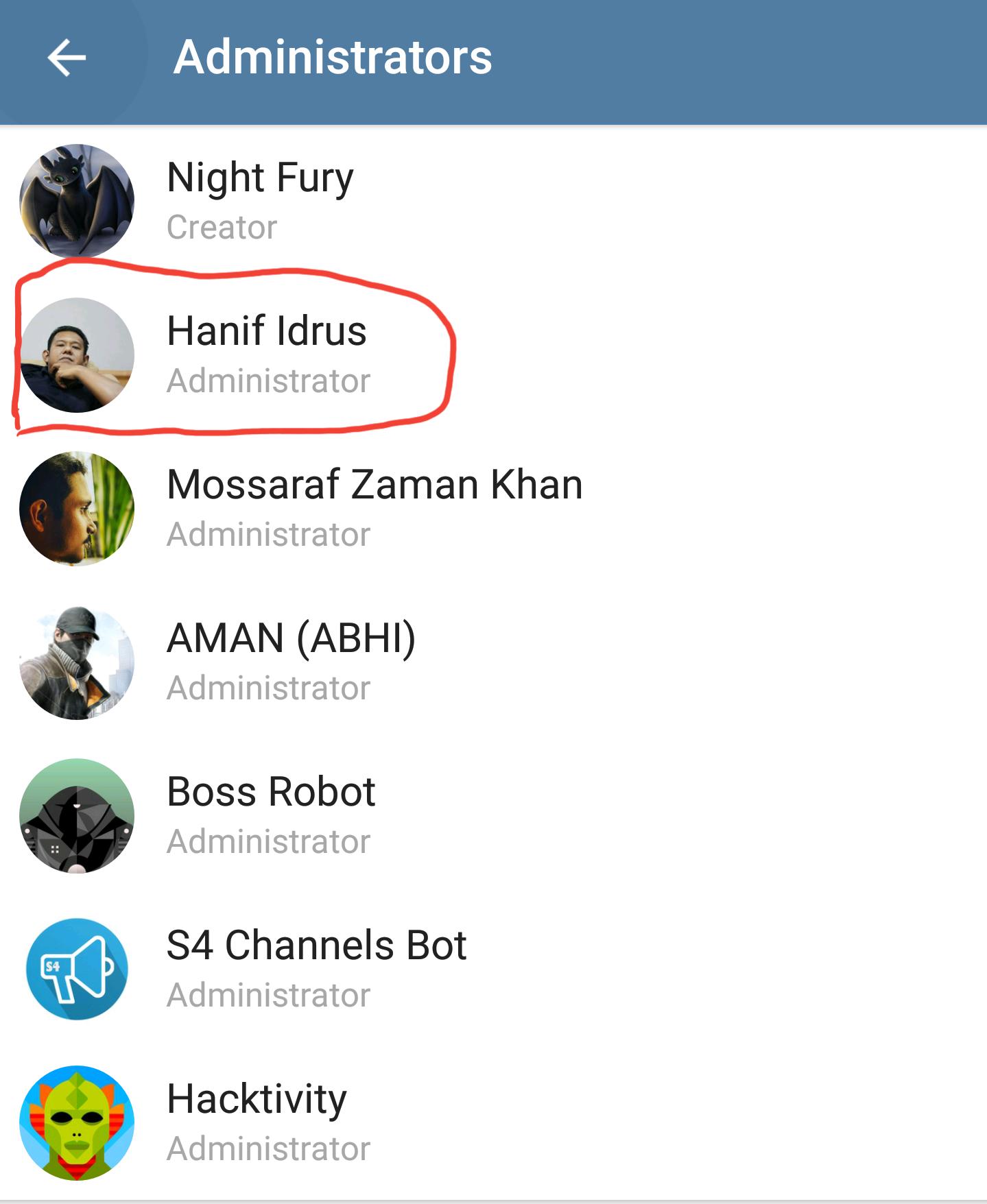 how to change admin in telegram