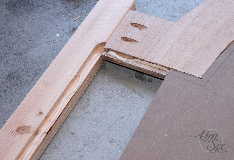 Gluing inset beadboard into frame