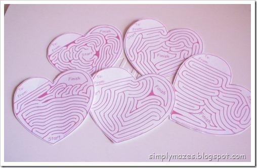 Free printable maze valentines.