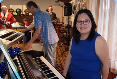 Vicky Chen preparing to play for us on the Clavinova. Some of her pieces were accompanied by Rendall Miller using Taka Iida's Yamaha Stagea organ. Photo courtesy of Dennis Lyons.