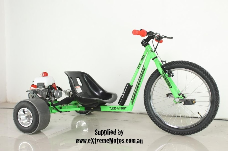 Motorised Petrol Powered Drift Trike Slider Drifting Tricycle GoCart for sale Green