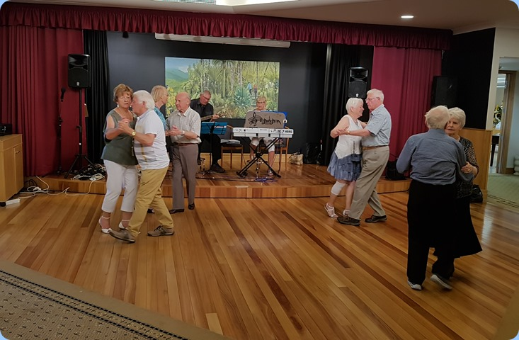 Residents and members of the Club dancing to the great music of Jan and Kevin Johnston.