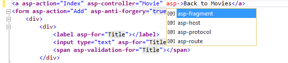 Intellisense en tag helpers