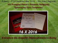 sukces naszej koleżanki - II miejsce dla Angeliki Stanczykiewicz w VIII Przeglądzie Pieśni i Piosenki Religijnej w Puławach (16.10.2016)