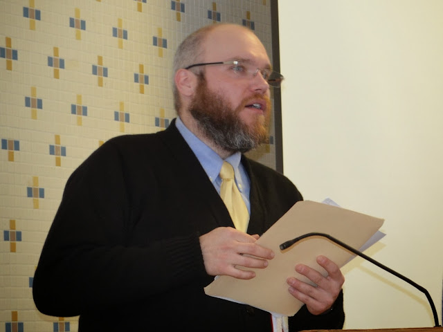 JJ Przewozniak of The Polish Mission at Orchard Lake St. Mary's presents during the 2014 GWBHS Annual Meeting