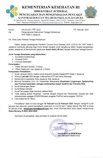 Kantor Kesehatan Pelabuhan Kelas Ii Jayapura Membuka Lowongan Pekerjaan Pengumuman Rekrutmen Tenaga Perbantuan Kantor Kesehatan Pelabuhan Kelas Ii Jayapura