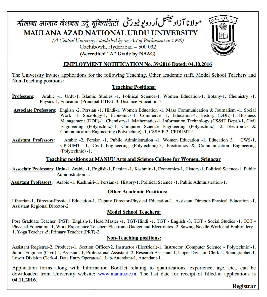 MANUU Recruitment 2016