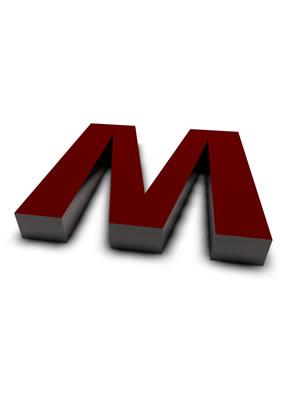 lettre 3D rouge de Chine - M - images libres de droit