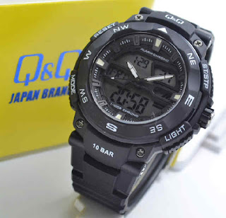 jam tangan Q&Q GW85J002Y double time black rubber white