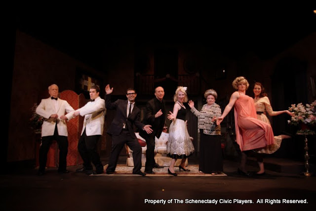 Phil Sheehan, Ryan Davis, Jimmy Cupp, Mark Stephens, Meigg Jupin, Sally Farrell, Paul Dedrick and Amy Lamena in LEADING LADIES - October 2011.  Property of The Schenectady Civic Players Theater Archive.