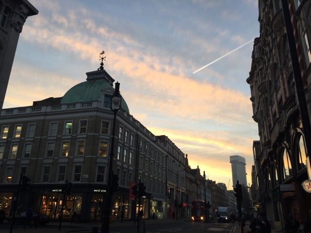 A gorgeous morning sky in Goodge St, London