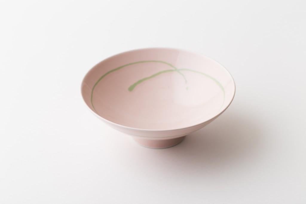 Hira-Chawan Flat Bowl (rose x green line)