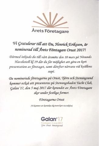 Nominerad till Årets Företagare på Orust