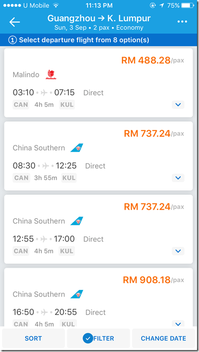 Malindo KL-Guangzhou via Traveloka app