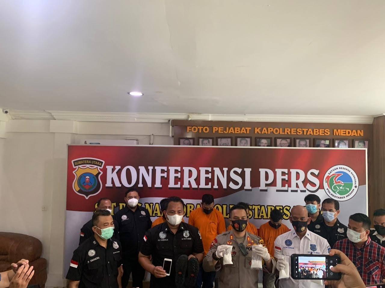 SatNarkoba Polrestabes Medan Ciduk 4 Pria Pengedar Narkoba Asal Aceh