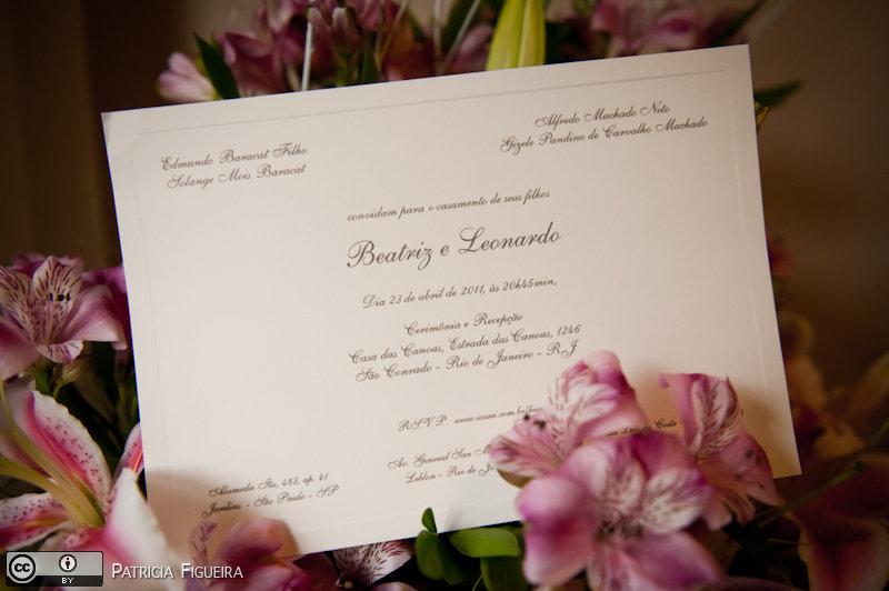 Foto de casamento 0014 de Beatriz e Leonardo. Marcações: 23/04/2011, Casamento Beatriz e Leonardo, Convite, Convite de Casamento, Papel Estilo Moema, Rio de Janeiro.
