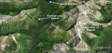 Photo: This shows our first two campsites. NOTE: We didn't actually get off the boat until it reached the shore. :)