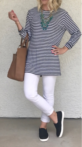 Thrifty Wife, Happy Life || White jeans, stripe shirt and slip on shoes