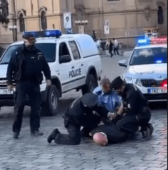 Czech Police Apprehend Man Who Attempted To Disrupt #EndSARS Protest (Video)