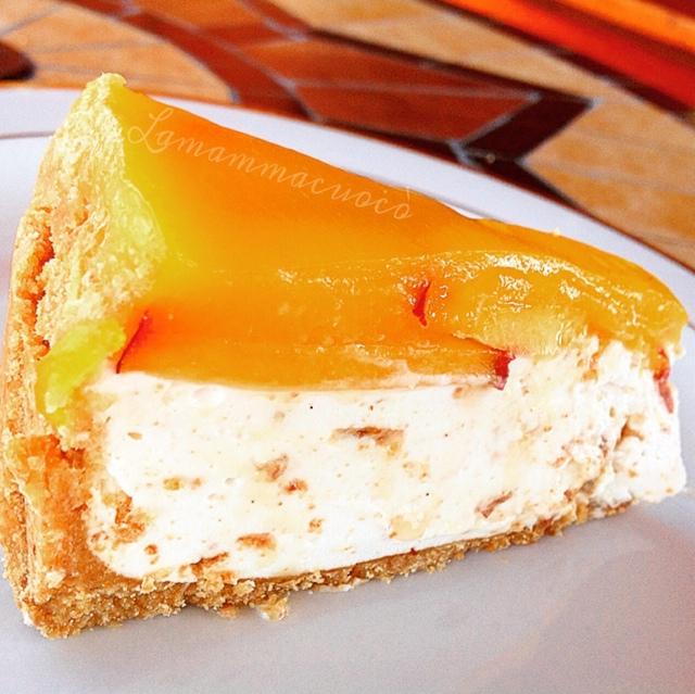 Cheese Cake Con Yogurt Amaretti E Pesche La Mamma Cuocò
