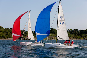 J/70 one-design sailboats- sailing off Newport