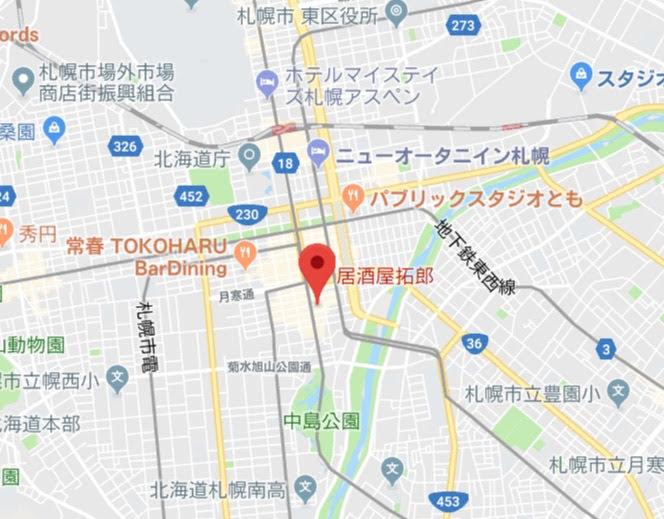 地図:居酒屋拓郎