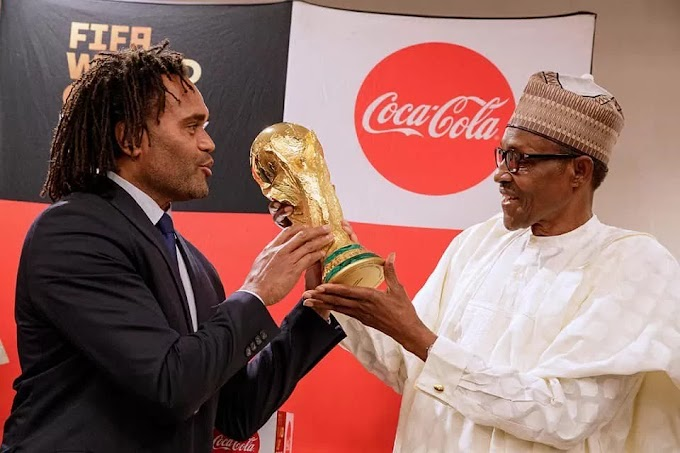 Photos: President Buhari Receives FIFA World Cup Trophy Ahead Of Russia 2018
