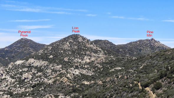 Pyramid Peak, Lion Peak, and Pine Mountain from Butterfly Peak (Click to enlarge)