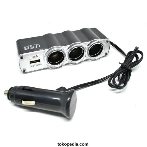 USB + Triple Car Plug ( Cigarette Lighter Mobil x