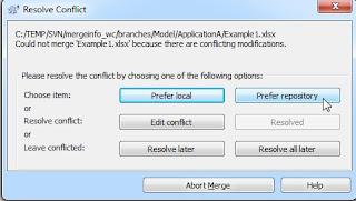 Managing binary file merge conflicts - specifying repository