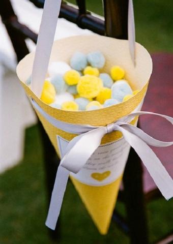 Pompones de algodón para bodas