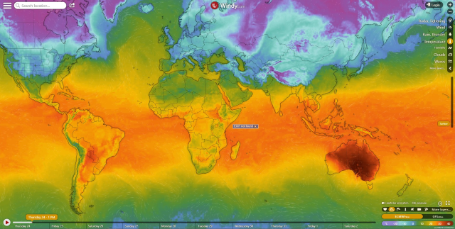Map of global temperatures, 24 January 2019. Australia is the hottest place on Earth, as numerous records fall during the extreme heatwave there. Graphic: Windy.com / Alexei T / Twitter
