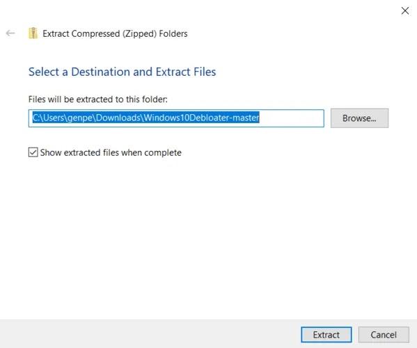 إزالة Bloatware Windows Extract Destination