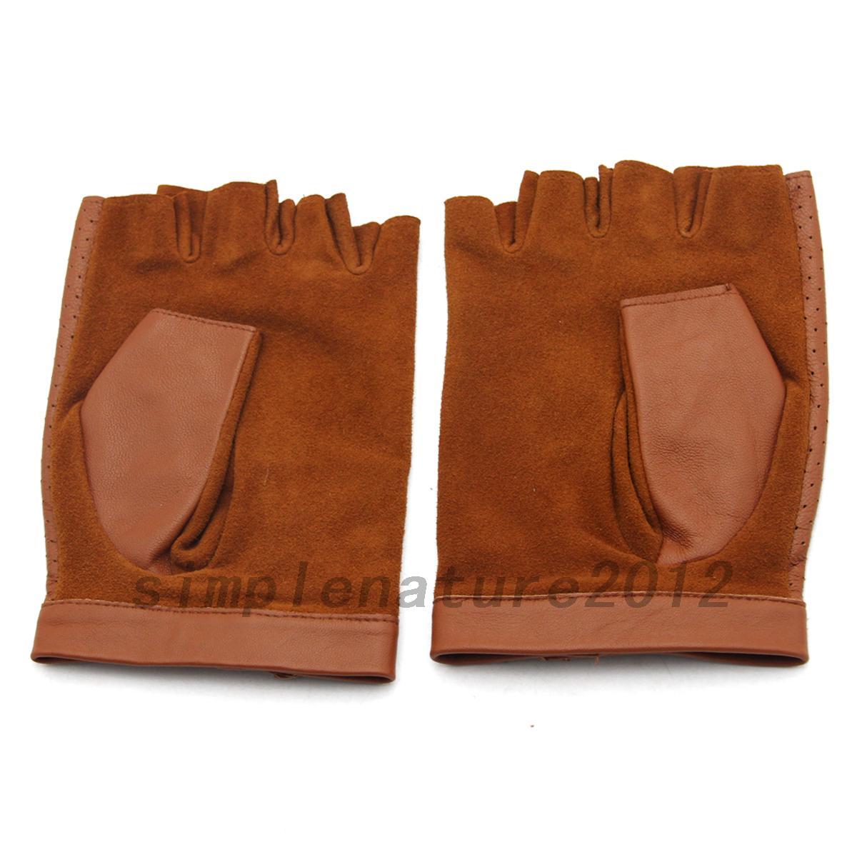 Fingerless driving gloves ebay - Real Genuine Leather Sheepskin Fingerless Women Driving Gloves