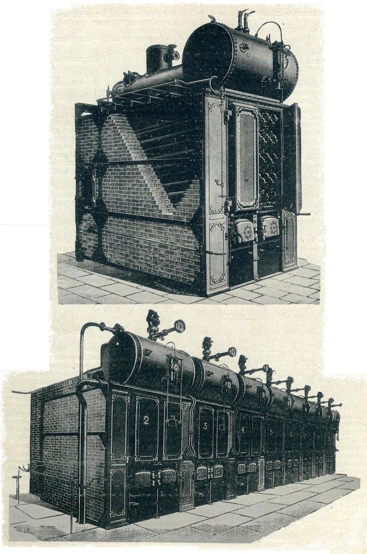 Calderas Niclausse. Foto de la revista El Mundo Naval Ilustrado. Año 1897.JPG