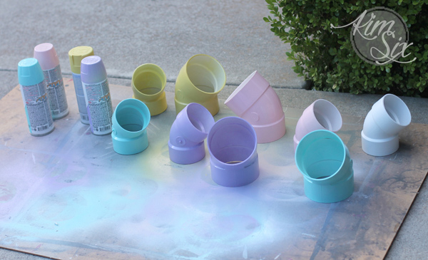 Spray Painting PVC elbows for planters