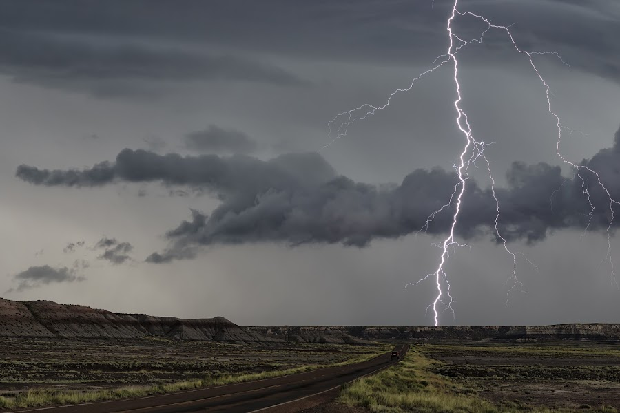 Petrified Forest Lightning by Scott Wood - Landscapes Weather ( clouds, lightning, desert, highway, monsoon, arizona, summer, cloud, electricity, storm chasing, storm,  )