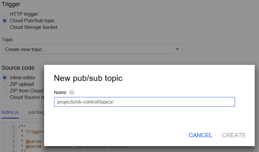 defining a new Cloud Pub/Sub topic via the 'Create new topic' pop-up