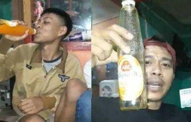 Demi Uang Rp20 Ribu, Aksi Pria Tenggak Sebotol Sirup Bikin Geleng Kepala, Netizen: Fix Diabetes Lu Bang!