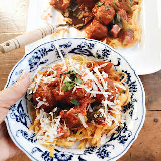 Yellow Squash Zoodles with Meatballs.