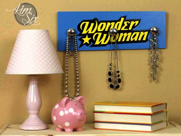 Wonder Woman Jewelry holder made from cabinet knobs. Since every woman can be a wonder woman!