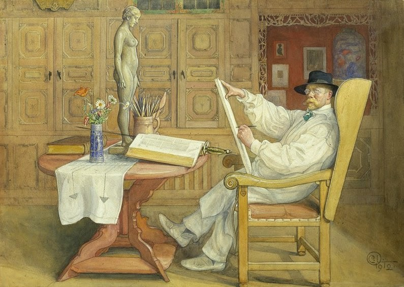 Carl Larsson - Self Portrait in the Studio, 1912