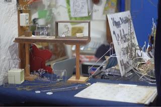 夏休みテーマの針金細工コーナー